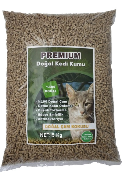 Premium Doğal Çam Pelet Kedi Kumu 5 kg