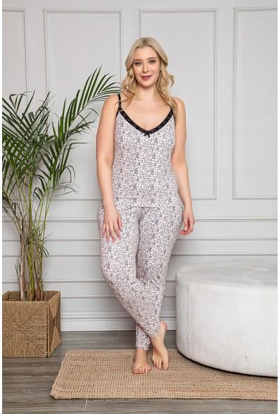 My Ben Myben Büyük Beden Pembe Renkli Dantel Detaylı Şortlu ve Taytlı Pijama Takımı 3'lü Set 80030