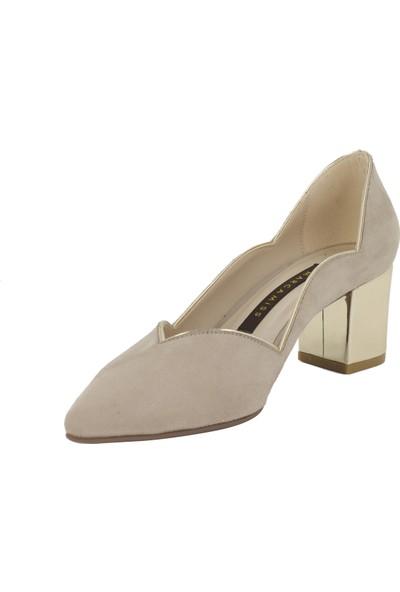 Marcamiss Bej Süet Kadın Stiletto Ayakkabı 7548