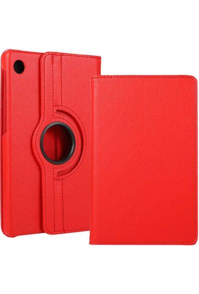 Canpay Huawei Matepad T10S Uyumlu Kılıf Standlı 360° Rotatable Pu-Leather Case Kırmızı