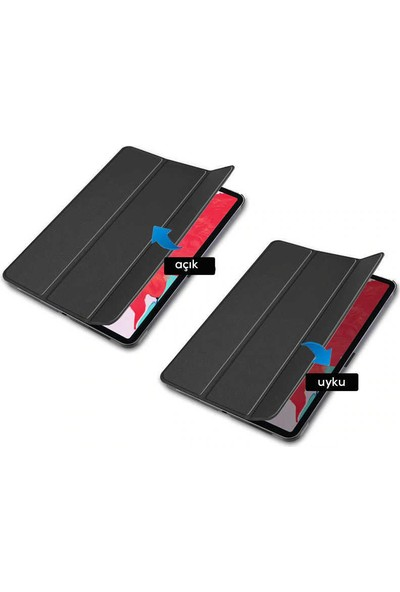 Canpay Huawei Matepad T10S Uyumlu Kılıf Standlı Ön ve Arka Kılıf Canpay Smart Case Kırmızı