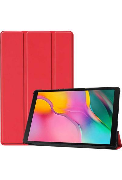 Canpay Huawei T5 10 Uyumlu Kılıf Standlı Ön ve Arka Kılıf Canpay Smart Case Kırmızı