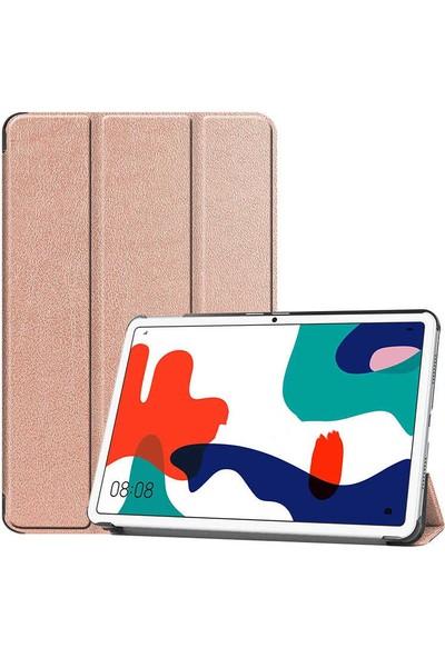 Canpay Huawei Matepad 10.4 Uyumlu Kılıf Standlı Ön ve Arka Kılıf Canpay Smart Case Rose Gold