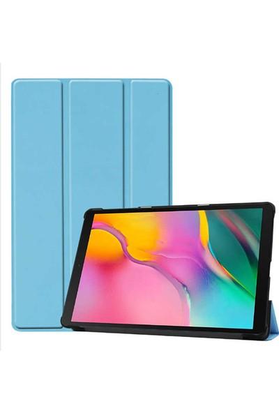 """Canpay Samsung Galaxy T550 Uyumlu Kılıf (Tab A 9.7"""") Ön-Arka Smart Case Katlanır Stand Mavi"""