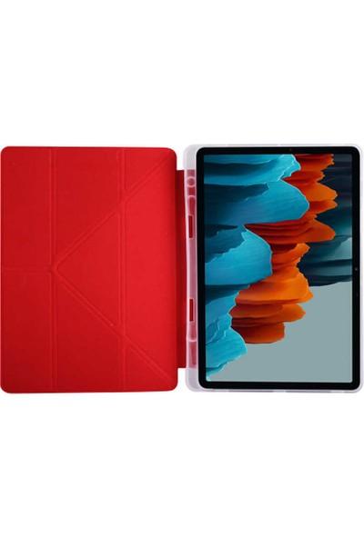 Canpay Samsung Galaxy T870 Uyumlu Kılıf Tab S7 Candy-Pen Serisi Stand ve Kalem Bölmeli Kırmızı