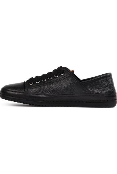 Free Foot 173 Siyah Hakiki Deri Kadın Günlük Ayakkabı