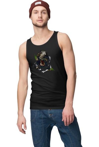 Angemiel Wear T-Rex Siyah Erkek Pamuklu Baskılı Atlet