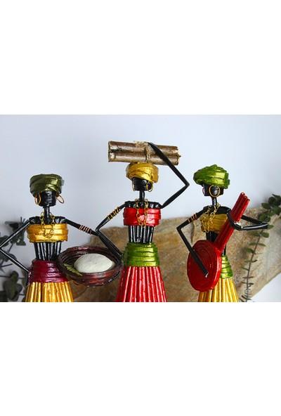 Adamodart Afrikalı Kadın Biblo 3'lü Set