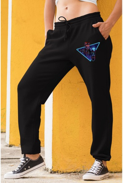 Angemiel Wear Starlord Kadın Eşofman Takımı Sarı Kapşonlu Sweatshirt Siyah Eşofman Altı