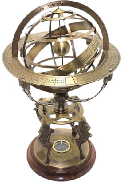 Hediye Sahibi Dekoratif Pusulalı Pirinç Horoskop Yıldız Haritası 45*25 cm