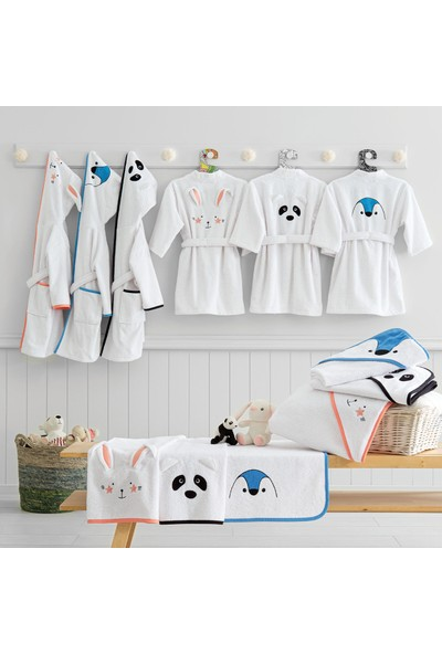 Yataş Bedding Bret Kapüşonlu Bornoz Pamuk Bornoz Renk :somon ve Beyaz 450 Gr/m² (1-2 Yaş)
