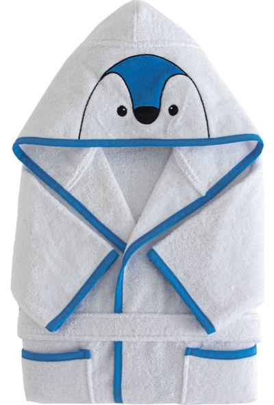 Yataş Bedding Pingu Kapüşonlu Bornoz Pamuk Bornoz Renk :mavi ve Beyaz 450 Gr/m² (1-2 Yaş)