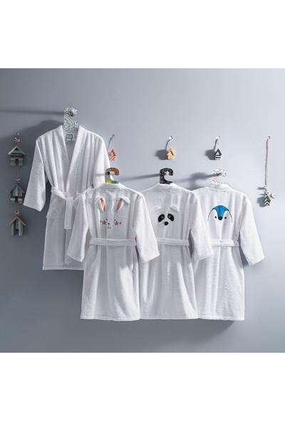 Yataş Bedding Pingu Kimono Yaka Bornoz Pamuk Bornoz Renk :mavi ve Beyaz 450 Gr/m² (3-4 Yaş)