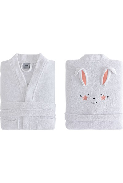 Yataş Bedding Bret Kimono Yaka Bornoz Pamuk Bornoz Renk :somon ve Beyaz 450 Gr/m² (3-4 Yaş)