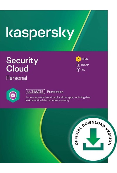 Kaspersky 3 Kullanıcı Security Cloud Personal