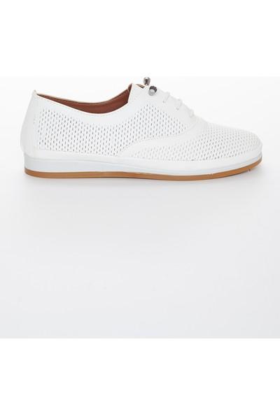 Zulu Hakiki Deri Kadın Günlük Ayakkabı Beyaz Bağcıklı Lazer Işlemeli