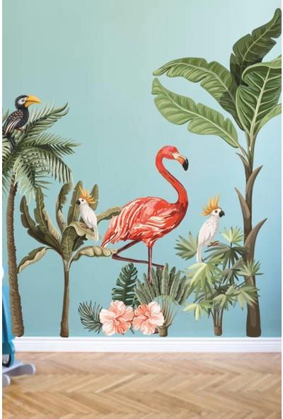 Walldeco Flamingo ve Kuşlar Safari Tropikal Hayvanlar ve Ağaçlar Çocuk Bebek Odası Duvar Sticker