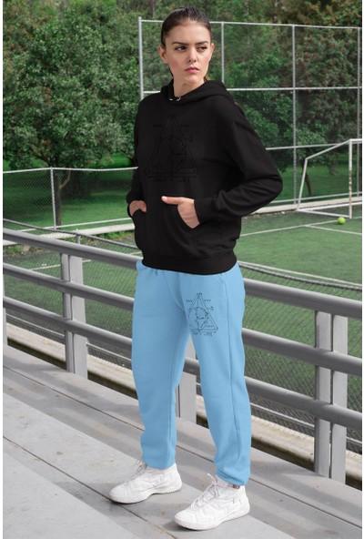 Angemiel Wear Geometrik Şekiller Kadın Eşofman Takımı Siyah Kapşonlu Sweatshirt Mavi Eşofman Altı