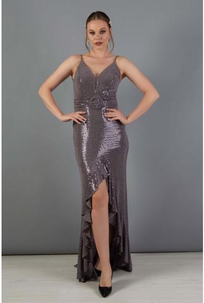 Carmen Lavanta Volan Yırtmaçlı Uzun Balık Abiye Elbise