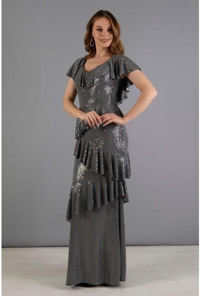 Carmen Gri Eteği Helezon Uzun Abiye Elbise