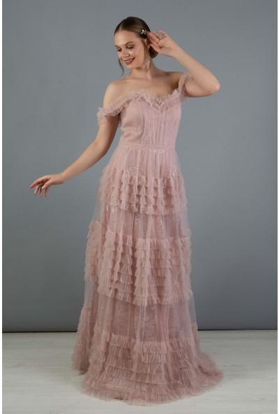 Carmen Pudra Tül Prenses Nişan Elbisesi