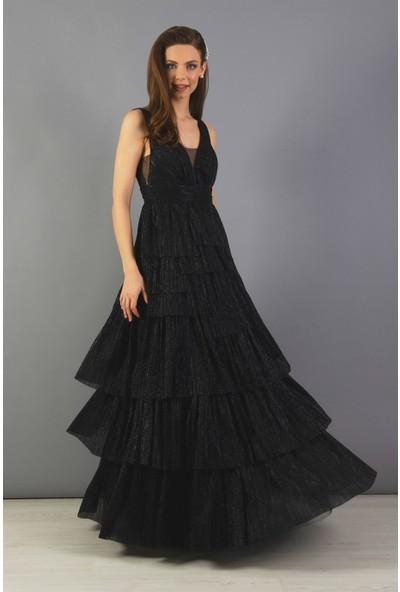 Carmen Siyah Tüllü Uzun Prenses Abiye Elbise
