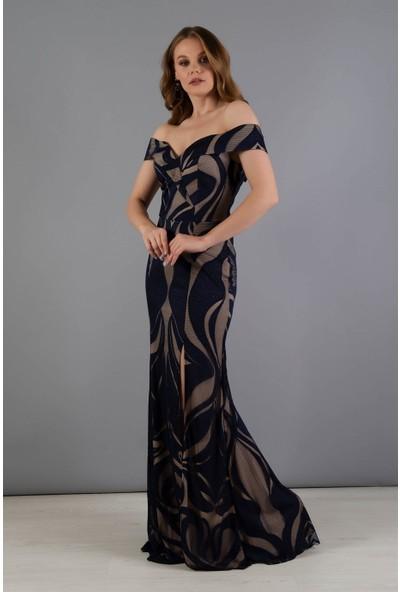 Carmen Lacivert Dantelli Carmen Yaka Abiye Elbise