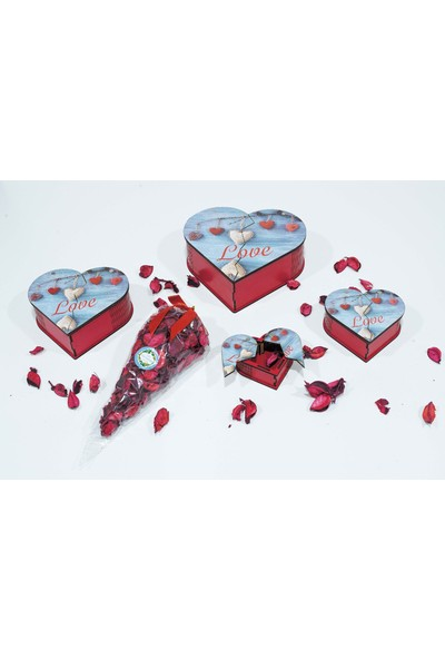 Pınarstore Pınarstore Love2 Resim Baskılı Kırmızı 4 Lü Kalpli Ahşap Kutu-Hediyelik Kutu-Gül Kurusu Hediyeli