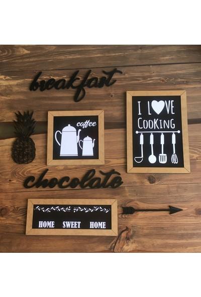 St Design Mdf 7 Parçalı Mutfak Tablo Seti Siyah Ham Mdf