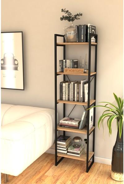 Nilamu 45 cm Kitaplık / Metal Aksamlı / Açık Raf / Organizer / Ofis / Ev / 5 Raflı Kitaplık