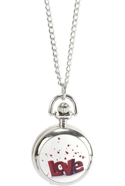 Pierre Rucci Love Desen Kapaklı Mini Cep Saati