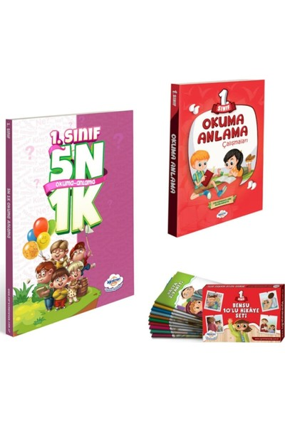 Öğretmen Evde Yayınları 1. Sınıf 5n 1k Okuma Anlama +Okuma Anlama Çalışmaları + Bensu 10'lu Hikaye Seti
