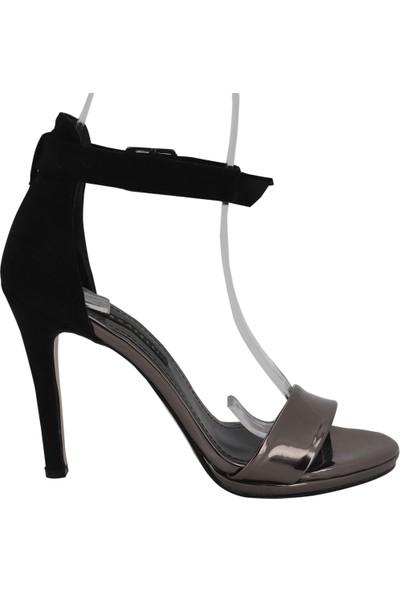 Marcamiss 7390 Ruganderi Topuklu Tek Bant Kadın Ayakkabı Füme
