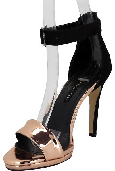 Marcamiss 7390 Rugan Deri Topuklu Tek Bant Kadın Ayakkabı Rose