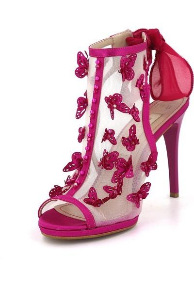 Marcamiss 317 Özel Tasarım Platform Topuklu Abiye Kadın Ayakkabı Fuşya