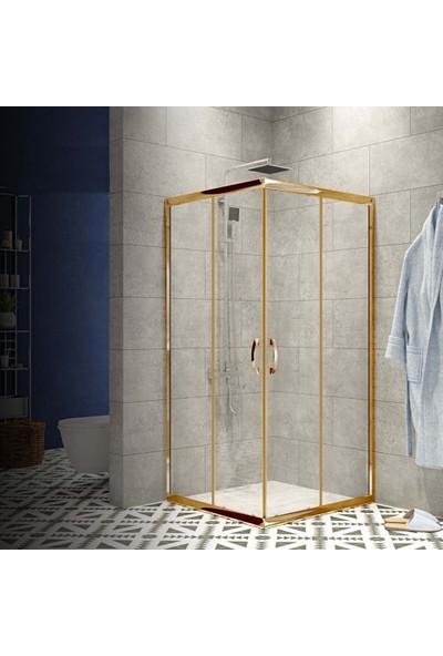 Durul Duşakabin 70X100 Altın Profil 5mm Şeffaf Cam - Duş Teknesiz H:190 cm