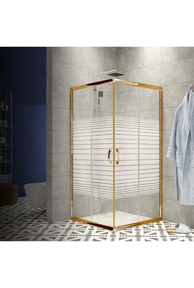 Durul Duşakabin 90X90 Altın Profil 5mm Çizgili Cam - Duş Teknesiz H:190 cm