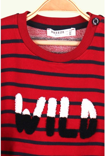 Breeze Erkek Bebek Eşofman Takımı Süzene Nakışlı Çizgili Kırmızı