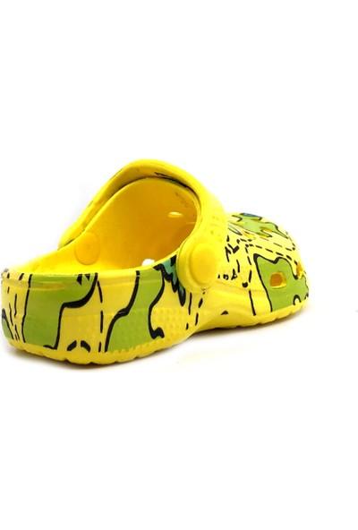 Sonimix Sarı Yeşil Günlük Plaj Havuz Erkek Çocuk Terliği