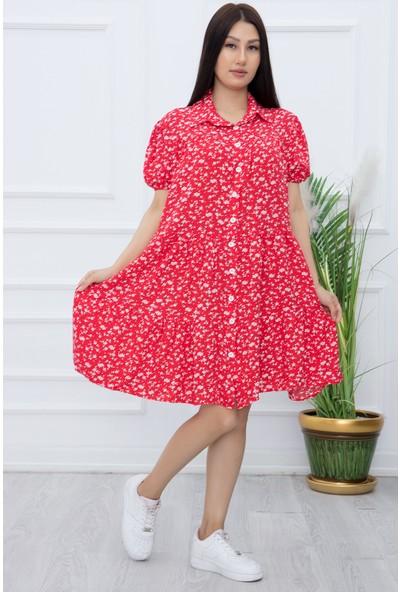 Kalopya Kadın Volanlı Çiçekli Kısa Elbise 3707