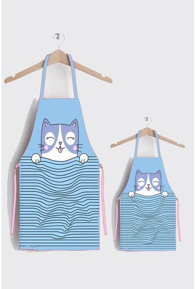 Ays Home Şirin Kedi Anne Çocuk Leke Tutmaz Kumaş Mutfak Önlüğü