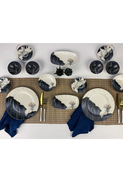 Sembol Valery 26 Parça Stoneware Blue Dream Kahvaltı - Sunum Seti 100
