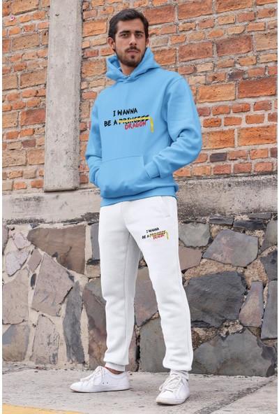 Angemiel Wear I Wanna Be A Dragon Erkek Eşofman Takımı Mavi Kapşonlu Sweatshirt Beyaz Eşofman Altı