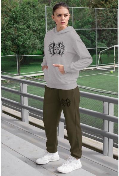 Angemiel Wear Açan Güneş Kadın Eşofman Takımı Gri Kapşonlu Sweatshirt Yeşil Eşofman Altı