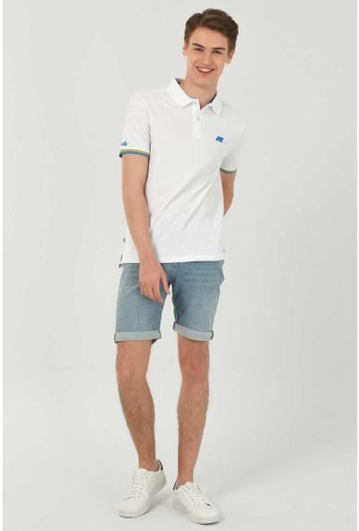 Ucla Bruno Beyaz Polo Yaka Nakışlı Erkek Tshirt