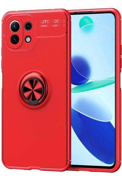 Blupple Xiaomi Mi 11 Lite Uyumlu Kılıf Ravel Araç Yüzüklü Mıknatıslı Standlı Silikon Esnek Kırmızı