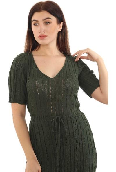 1moda1tarz Kadın V Yaka Kısa Kollu Etek Kısmı Astarlı Bel Bağcıklı Jakar Desenli Triko Elbise