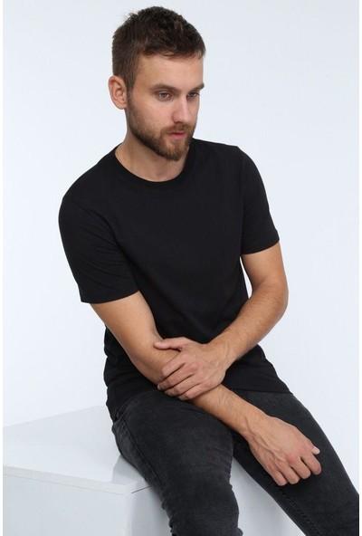 1moda1tarz Erkek Siyah Basic Slimfit Kısa Kol T-Shirt