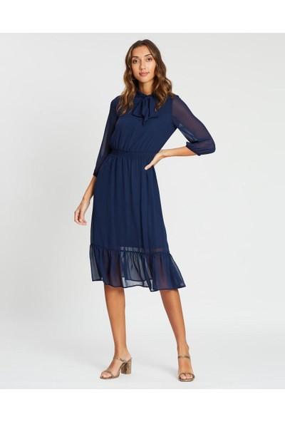 1moda1tarz Kadın Lacivert Fular Yaka Beli Gipeli Içi Astarlı Uzun Kollu Şifon Elbise