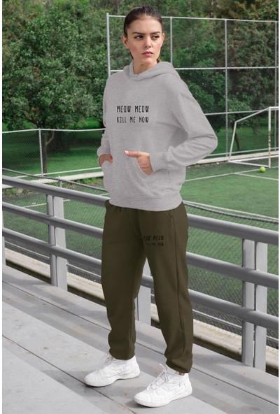 Angemiel Wear Meow Kill Me Now Kadın Eşofman Takımı Gri Kapşonlu Sweatshirt Yeşil Eşofman Altı